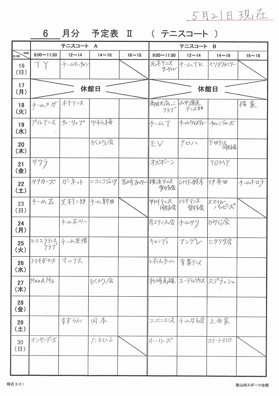 6月の抽選結果